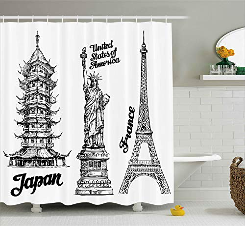 (Ambesonne Eiffel Tower Shower Curtain, Famous Monuments Statue of Liberty Eiffel Tower Japanese Building Urban Artsy, Cloth Fabric Bathroom Decor Set with Hooks, 75 Inches Long, White Black)