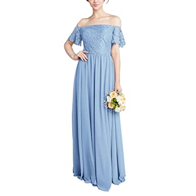 Zafee-Freely Women\'s Long Chiffon Lace Off-Shoulder A-Line Wedding ...