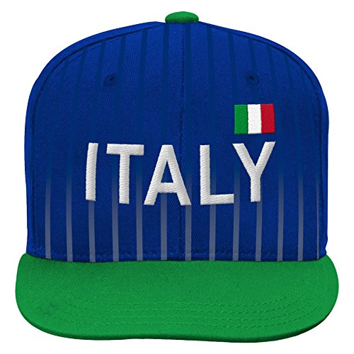 - World Cup Soccer Italy Mens -Jersey Hook Flag Snapback, Green, One Size