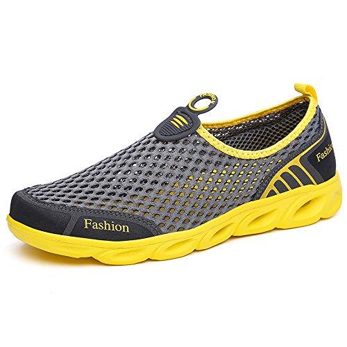 VILOCY Männer Frauen Breathable Quick Dry Wasser Aqua Schuhe Outdoor Mesh Sportschuhe Walking Sneaker Dunkelgrau
