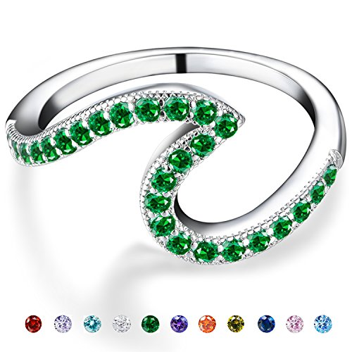 White Gold Platinum Rings (Emerald Stone Rings for Teens-May Copper Cute Cubic Zirconia White Gold Wedding Rings for Women)