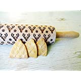 Rolling pin WHITE ELK. Wooden embossing rolling pin with White elk pattern. Embossed cookies. Pottery.