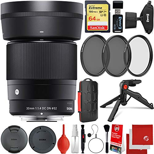 Sigma 30mm f/1.4 DC DN Contemporary Lens Canon EOS EF-M Mount Bundle with 64GB Memory Card, 3 Piece Filter Kit, Wrist Strap, Card Reader, Memory Card Case, Tabletop Tripod