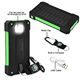 FLOUREON 10000mAh Solar Charger Power Bank Waterproof Portable External Battery Backup with Dual USB for Android iPad iPhone Cellphones, LED Flashlight with Compass for Emergency(Green)