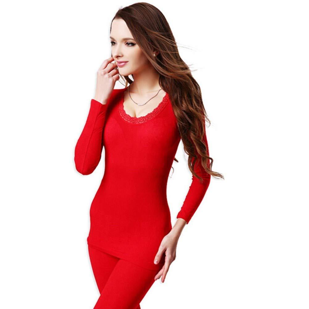 HNRYUDCF Nahtlose atmungsaktiv warme Lange Unterhosen Damen dünne Unterwäsche Sets Bottoming Frauen Tunika Winter Thermo-Unterwäsche rot, S