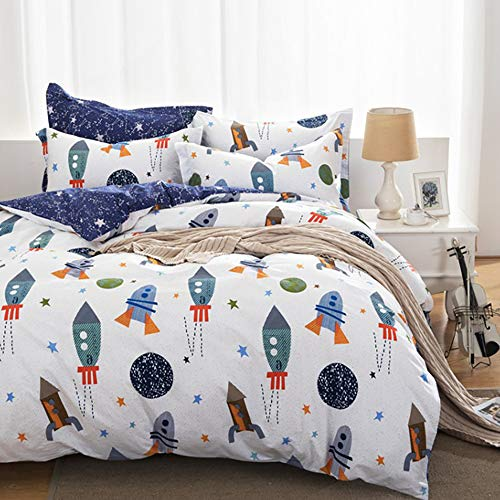 - karever Kids Duvet Cover Sets, Space Rocket Bedding Duvet Cover Set Queen, Boys Universe Adventure Theme Cotton Comforter Cover Set Full Size