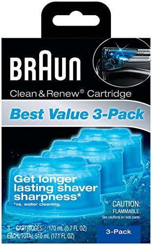 Braun Clean & Renew Refills 3-pack,170ml(5.7 Fl Oz)each-Total 510ml(17.1 Fl Oz) (Braun Shaver Clean And Renew)