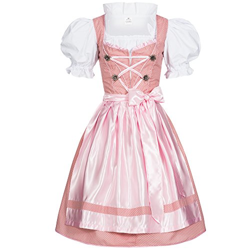 Women's German Dirndl Dress Costumes for Bavarian Oktoberfest Carnival Halloween Dots Rosa 46