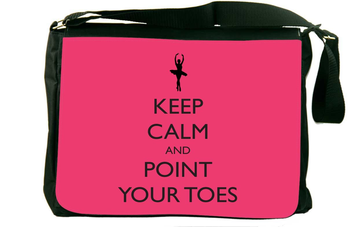 Rikki Knight Keep Calm and Point your Toes トロピカルピンクバレエメッセンジャーバッグ スクールバッグ   B01IJPGWUY