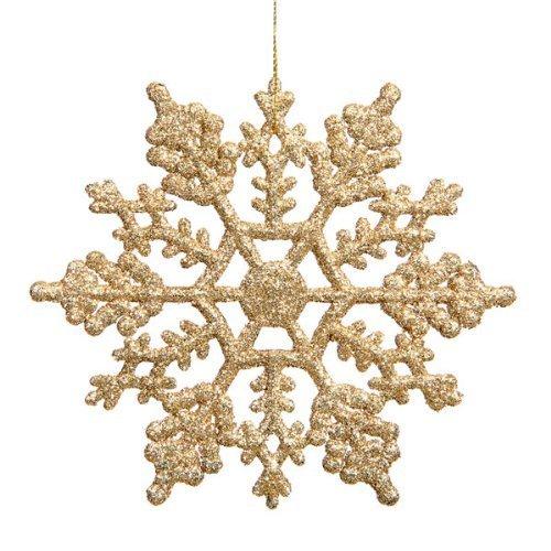 Yopih Plastic Glitter Snowflake 4-Inch Gold 24 Per Box