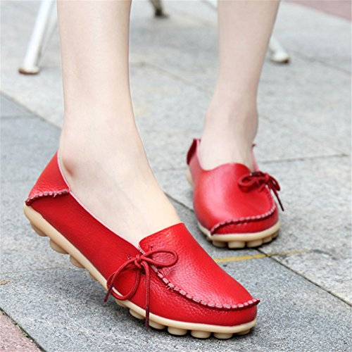 Red Ballet femenina las de Soft madre de de Mocasines Mocasines cuero mujeres conducción Zapatos 7 la Calzado de Flats ocasionales Leisure aaAxTCqH