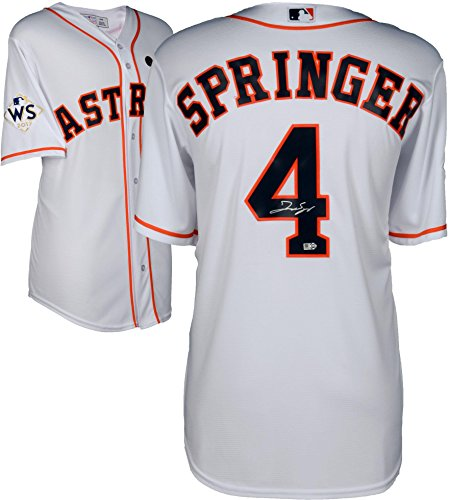George Springer Houston Astros 2017 MLB World Series Champions Autographed Majestic World Series White Replica Jersey - Fanatics Authentic Certified - World Series Mlb Baseball Jersey