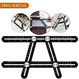 Universal Angularizer Ruler - Full Metal Multi Angle Measuring Tool-Ultimate Template Tool-Upgraded Aluminum Alloy Multi Functional Ruler(black)