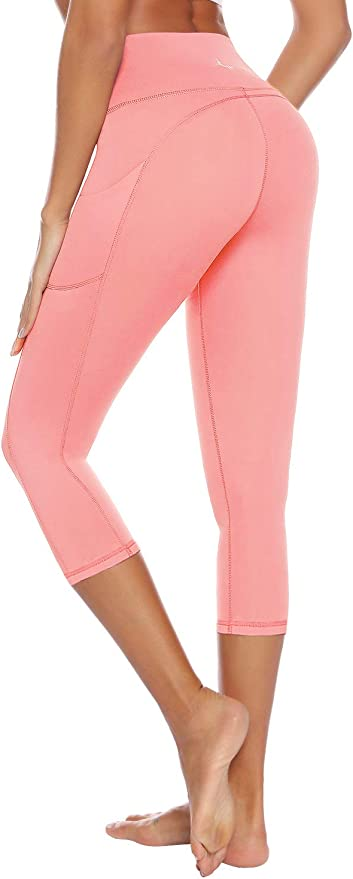 AUU High Waisted Leggings with Pockets Workout Leggings for Women Stretch Power Flex Capri Yoga Pants Buttery Soft