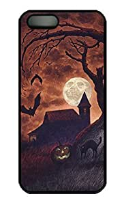 iPhone 5 5S Case, Dark Night Halloween Personalized Slim Protector Hard PC Black Edge Case Cover For iPhone 5 S
