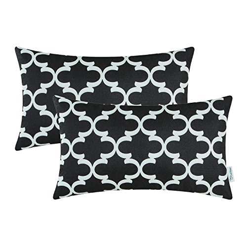 Pack of 2 CaliTime Bolster Pillow Covers Cases for Couch Sofa Home Decor, Modern Quatrefoil Accent Geometric, 12 X 20 Inches, Black Small Black And White