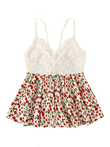Cami Ruffle Lace - SheIn Women's Lace Crochet Sexy V Neck Floral Print Ruffle Cami Tank Tops Medium Red