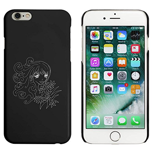 Noir 'Fille avec Fleurs' étui / housse pour iPhone 6 & 6s (MC00010961)