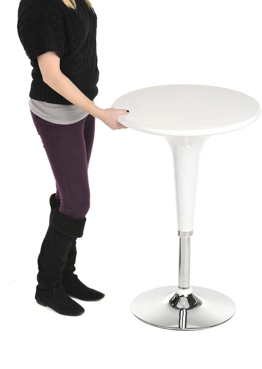 Displays2go BRTBLBF1W Adjustable Pub Table with 360 Degree Rotation, 24'', White by Displays2go (Image #5)