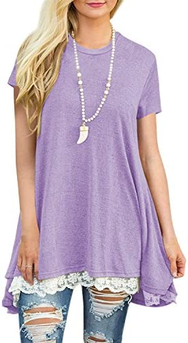 Yknktstc Womens Short Sleeve A-Line Flowy Tunic Tops Lace Trim Shirt Blouse