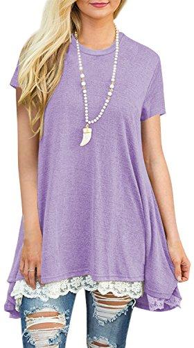 - Womens Short Sleeve A-Line Flowy Tunic Tops Lace Trim Shirt Blouse Small Light Purple