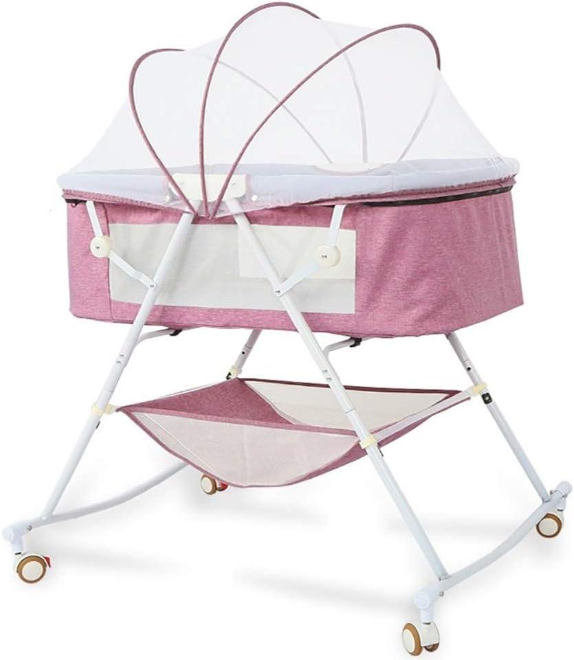 ZRWZZ Cochecito de bebé Desmontable Cuna de Hierro Forjado multifunción Cuna Plegable Cuna Simple Portátil Sleepy Baby Shake Bed Cuna de bebé Multifuncional (Color : Pink 2)