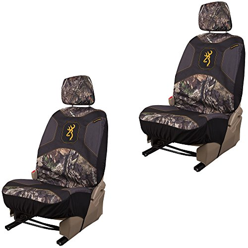 Browning Arms Company Buckmark Logo Infinity Camo Car Truck SUV Universal-Fit Seat Airbag Compatible Low Back Bucket Seat Covers with Head Rest Covers - PAIR LA Auto Gear Seat Covers