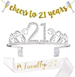 21st Birthday Decorations Party Supplies - 21st Birthday Gifts for her,21 Birthday sash | Banner | Crown | Cake Topper. (21)
