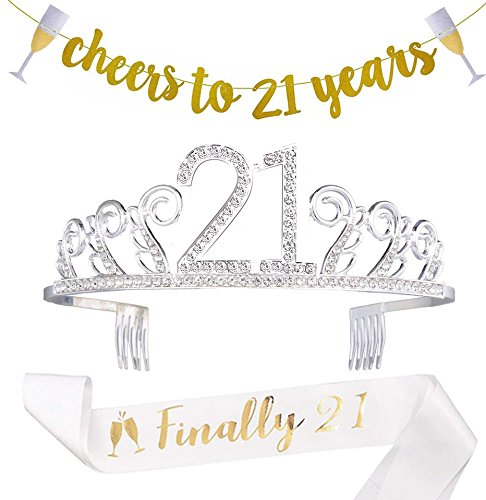 21st Birthday Decorations Party Supplies - 21st Birthday Gifts for her,21 Birthday sash | Banner | Crown | Cake Topper. (21) -