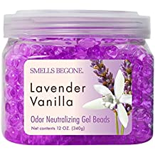 SMELLS BEGONE Odor Eliminator Gel Beads - Eliminates Odor in Bathrooms, Cars, Boats, RVs and Pet Areas - Air Freshener Made with Natural Essential Oils - Lavender Vanilla Scent (12 OZ)
