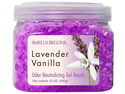 Smells Begone Lave Gel Beads-Air Freshener-Eliminates Odor in Bathrooms, Cars, Boats, RVs and Pet Areas-Made with Natural Essential Oils-Lavender Vanilla Scent (12 OZ)