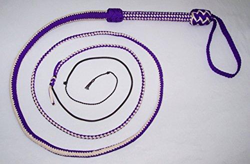 Whips Sporting Goods - 10 Foot Long 16 Plait Purple and White NYLON SHOT LOADED Bullwhip Whips Bull Whip Sku#SNY16A