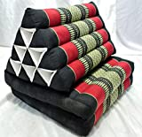 Thai Triangle Pillow Foldout Triangle Cushion, 47x20x3 Inches, Kapok,black Red