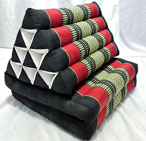Thai Triangle Pillow Foldout Triangle Cushion, 47x20x3 Inches, Kapok,black Red by Mukdahan Craft