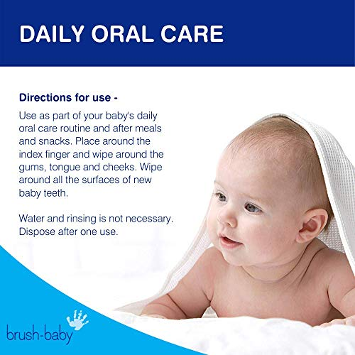 51ggnoXMhCL - Brush Baby Teething Relief Dental Wipes For Ages 0-Toddler - Naturally Eliminate Teething Pain, Prevent Tooth Decay And Sour Milk Breath - 28 Finger Wipes (2-Pack)