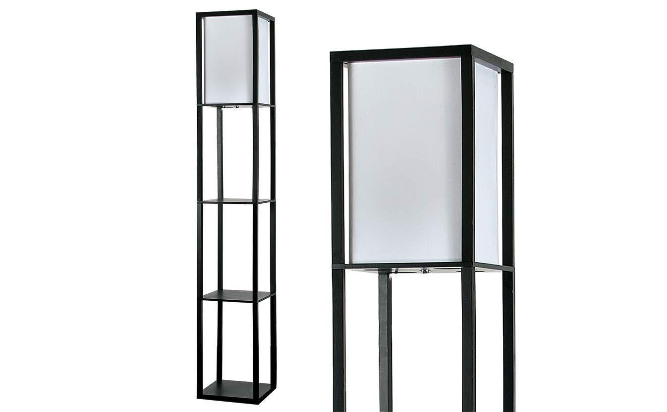 MiniSun – Moderna lámpara Struttura - de pie de madera negra y tela blanca - con 3 repisas