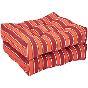 AmazonBasics Tufted Outdoor Seat Patio Cushion - Pack of 2, 19 x 19 x 5 Inches, Red Stripe