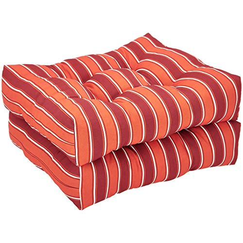 AmazonBasics Round Seat Patio Cushion, Set of 2 - Red Stripes (Deep Seat Patio Set Cushions)