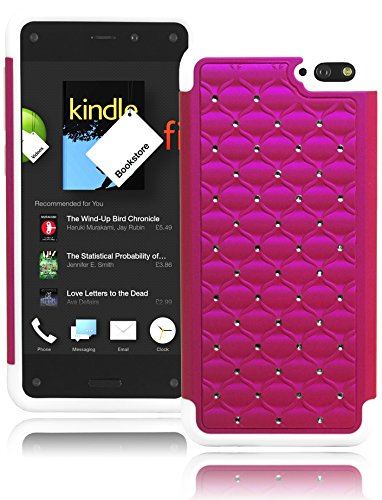 Bastex Durable Heavy Duty Pink Bling Design Cover with White Soft Silicone Case for Amazon Fire Phone