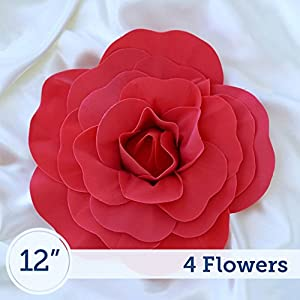 BalsaCircle 4 pcs 12″ Wide Red Artificial Large Roses Flowers Wall Backdrop Party Wedding Decorations