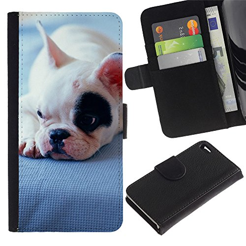 EuroCase - Apple Iphone 4 / 4S - Boston terrier bull French bulldog - Cuero PU Delgado caso cubierta Shell Armor Funda Case Cover