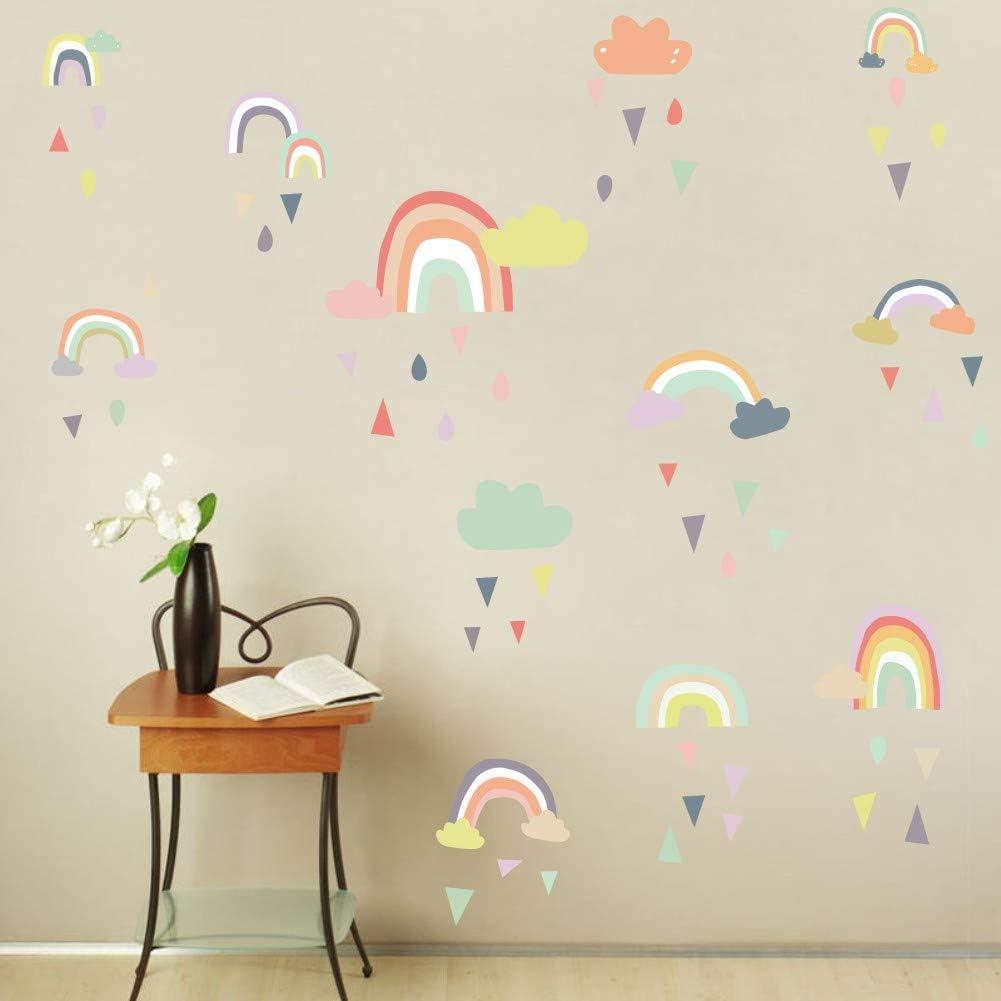 DIY Home Decor Colourful Stars Decal Transfer Room Decor Rainbow Wall Sticker