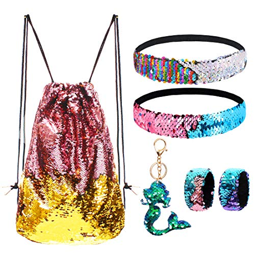 equin Drawstring Backpack/Bag Gold/Pink for Kids Girls ()