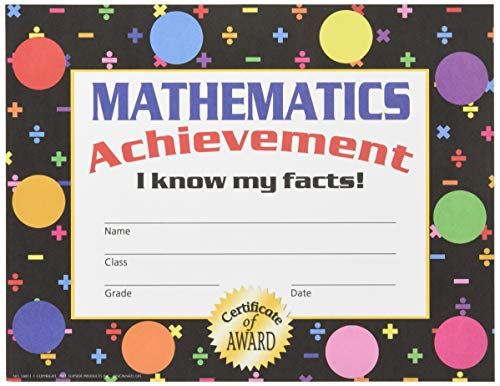 Hayes Mathematics Achievement Stick-to-It Award Certificate, 8-1/2 X 11 in