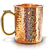 Copper Mug for Moscow Mules - Premium 100% Pure Solid Copper 16oz Hammered Barware Cup