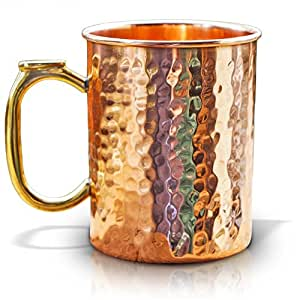 Copper Mug for Moscow Mules - Premium 16oz Hammered Barware Cup. Best for Cocktails & Beer.