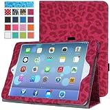 MoKo Etui Apple iPad Air (5th Gen) - Etui fin et pliable pour Tablette Apple iPad Air (5ème génération) Tactile Retina 9.7 pouces, Léopard ROUGE (Avec couverture intelligente réveil/sommeil automatique )