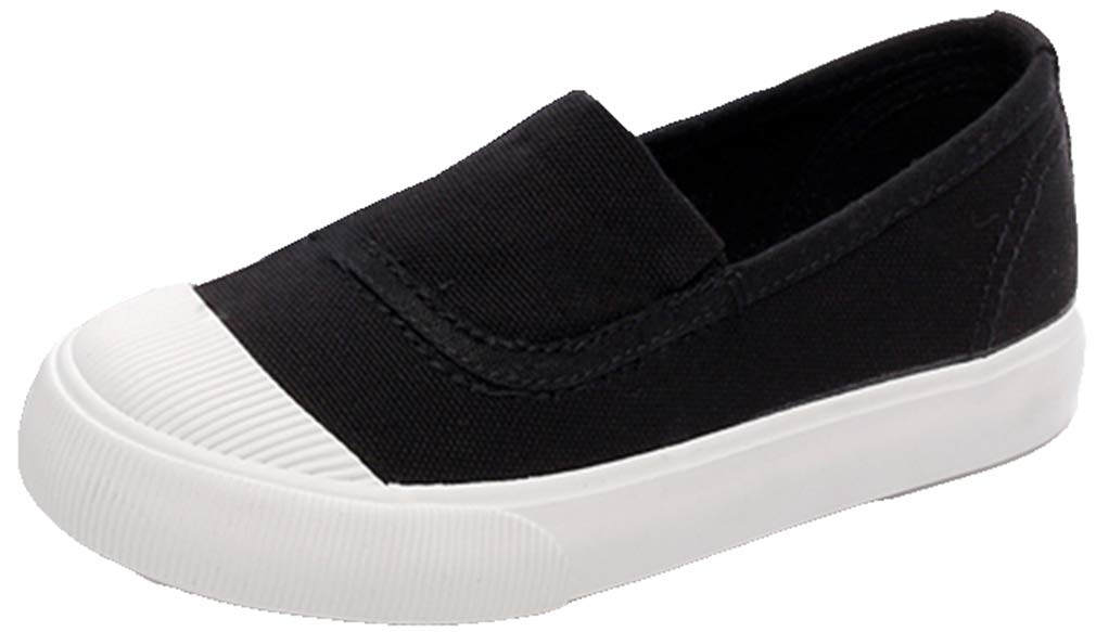 VECJUNIA Boy's Girl's Casual Slip-On Low Top Canvas Flat Loafers Shoes (Black, 10 M US Toddler)