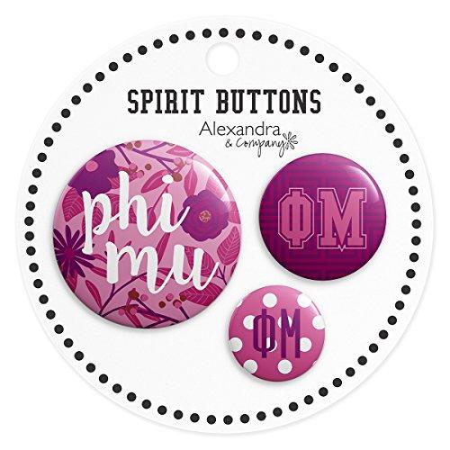 Phi Sorority Button - Alexandra And Company Buttons, Phi Mu