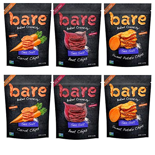 (Bare Baked Crunchy Veggie Chips, Variety Pack, Gluten Free, 1.4 Ounce Bag, 6 count )